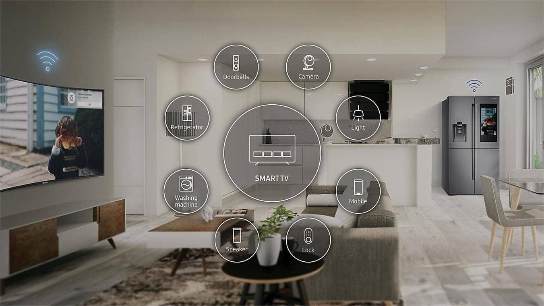 Smart Tivi 4K Samsung UA55NU7500 hệ sinh thái Smartthings