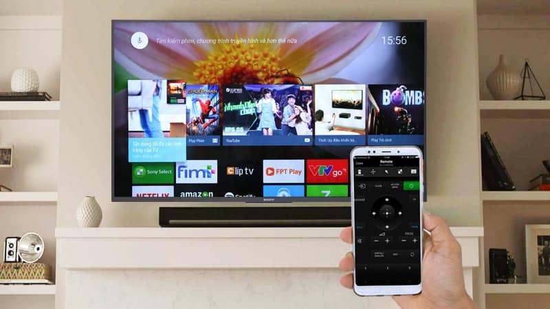 Điều khiển Android Tivi Sony 4K 55 inch KD-55X7500F bằng điện thoại