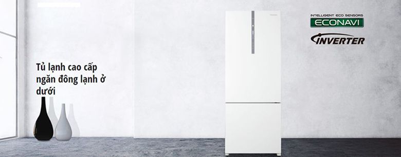 Tủ lạnh Panasonic NR-BX418GWVN 407 lít thiết kế ngăn lạnh dưới