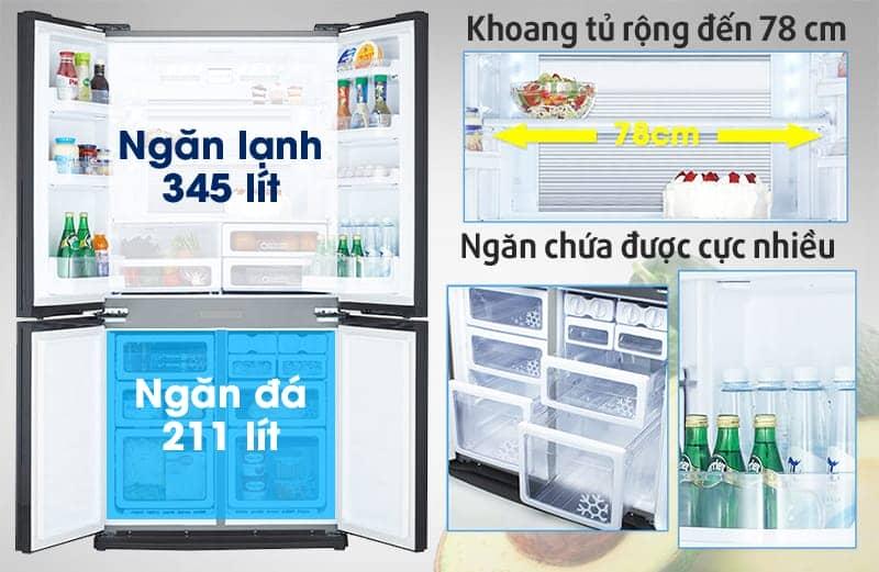 Tủ lạnh Sharp 626 lít SJ-FX630V-ST Dung tích sử dụng lớn