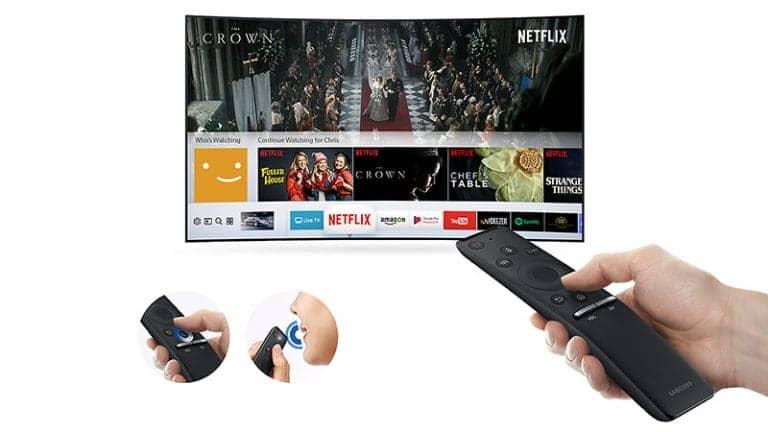 Smart Tivi cong 4K Samsung 65 inch UA65MU6500 smart remote