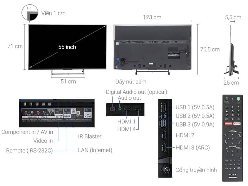 ảnh kỹ thuật tivi KD-55X8000E