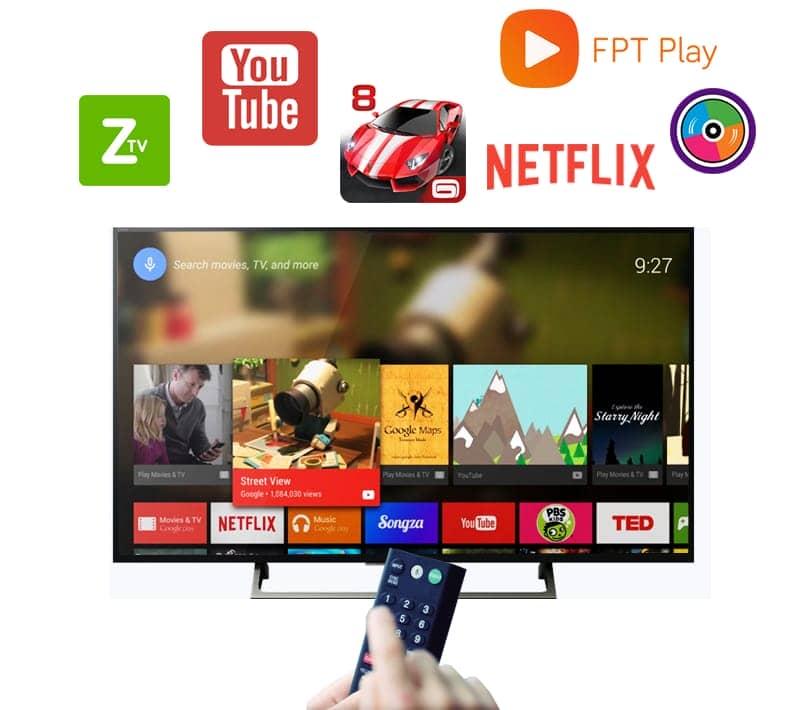 Android tivi KD-49X8000E/S nhiều hứng dụng hay