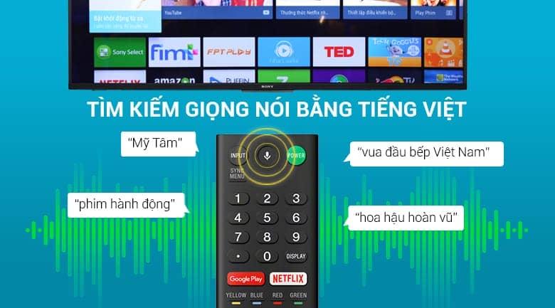 tìm kiếm giọng nói bằng tiếng việt trên Smart Tivi KD-65X8500F