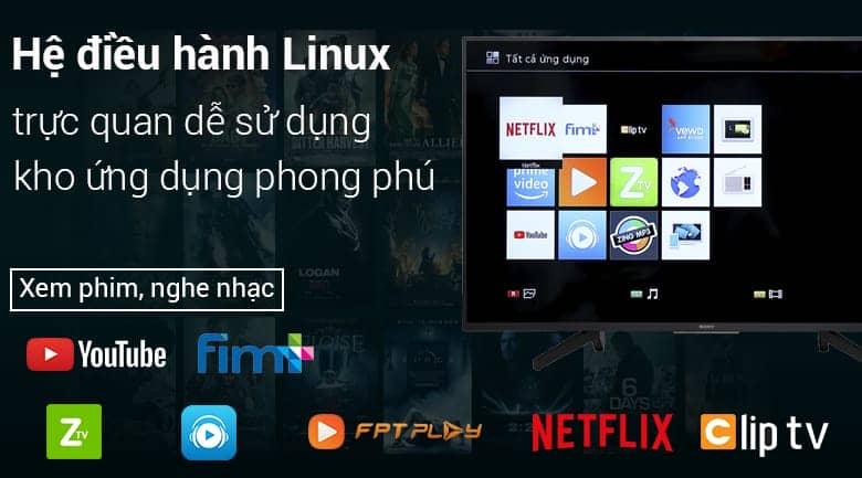 Smart Tivi Sony 4K 55 inch KD-55X7000F Hệ điều hành Linux