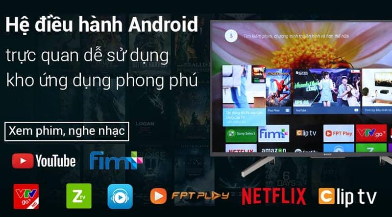 Hệ điều hành Android trên Android Tivi Sony 4K 55 inch KD-55X7500F