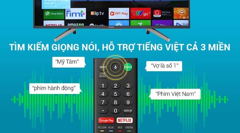 Tìm kiếm gióng nói bằng tiếng việt trên Android Tivi Sony 4K 55 inch KD-55X7500F