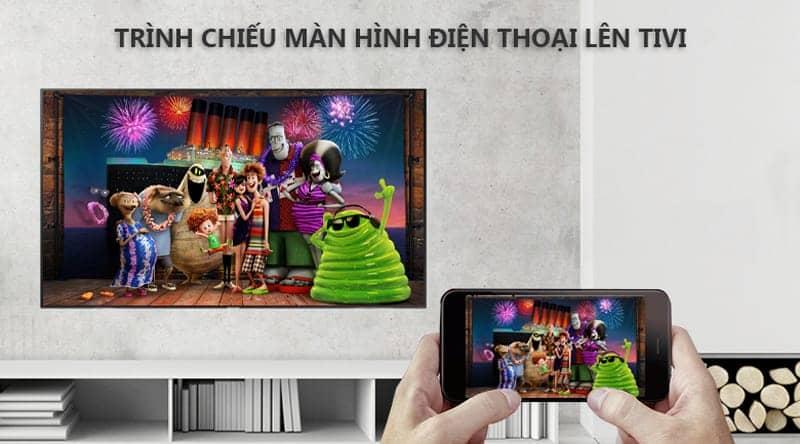 Android Tivi KD-75X8500 trình chiếu màn hình điện thoại