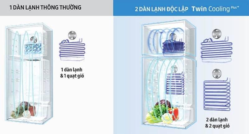 Tủ lạnh Samsung 360 lít Inverter RT35K5982BS/SV 2 Dàn lạnh độc lập Twin cooling