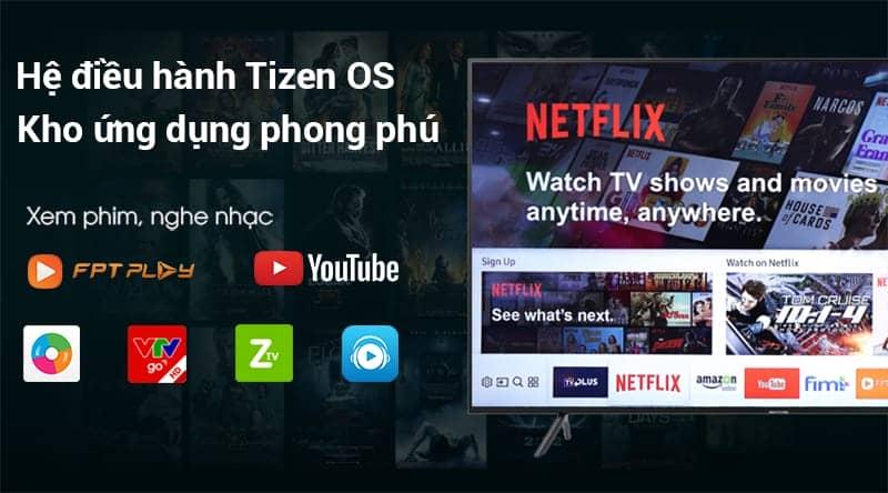 Smart Tivi 4K Samsung 55 UA55NU7100 Hệ điều hành Tizen OS
