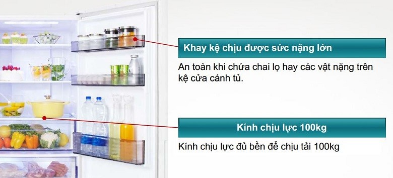 Tủ lạnh Panasonic NR-BX418GWVN 407 lít Khay kính chịu lực độ bền cao
