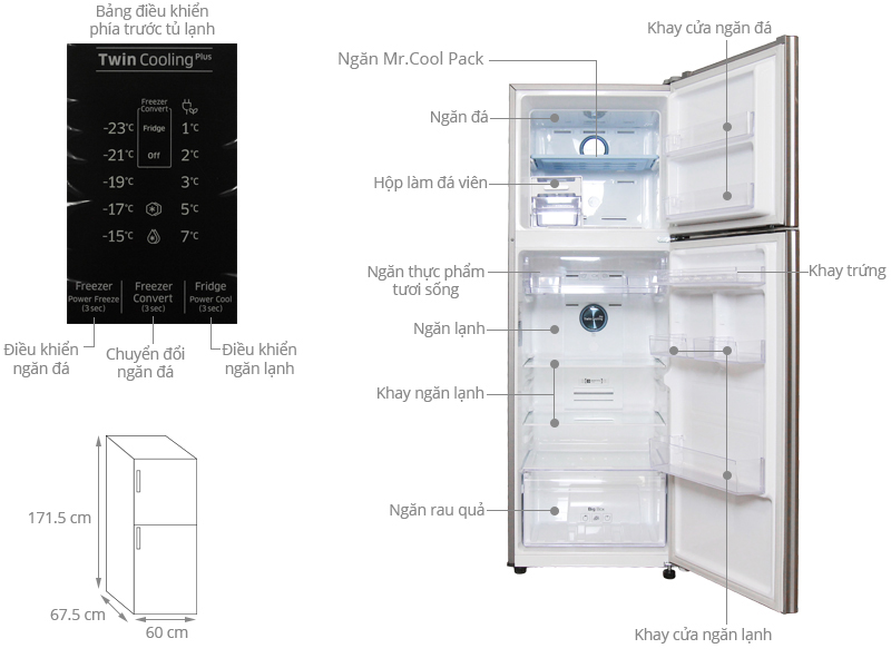 ảnh kỹ thuật tủ lạnh RT32K5532S8/SV